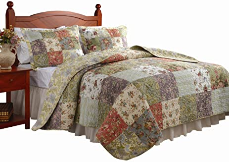 Amazon.com: Greenland Home Blooming Prairie Full/Queen Quilt Set ... : what is a quilt set - Adamdwight.com