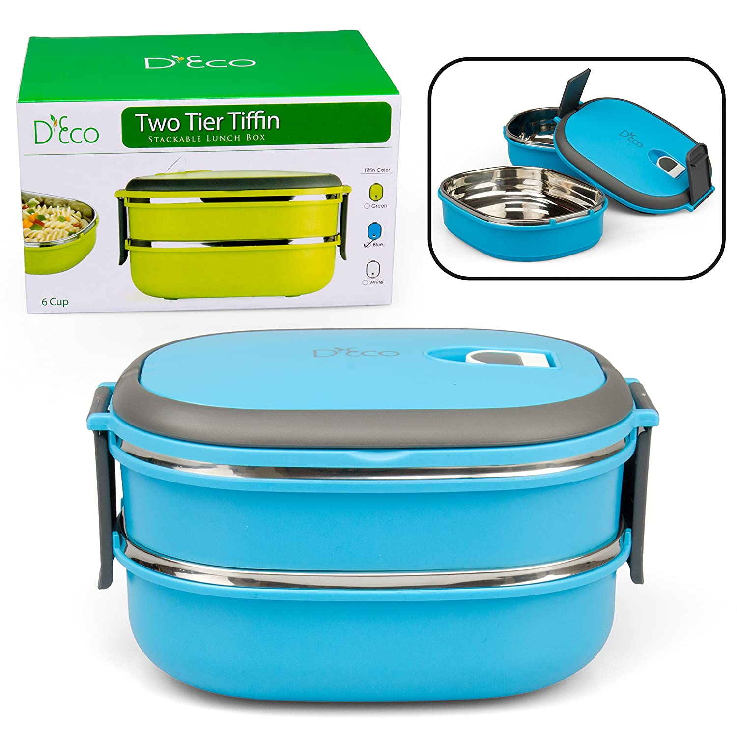 Stacking Lunch Box - Oval Two Tier Tiffin with Vacuum Seal Lid and Stainless Steel Interior