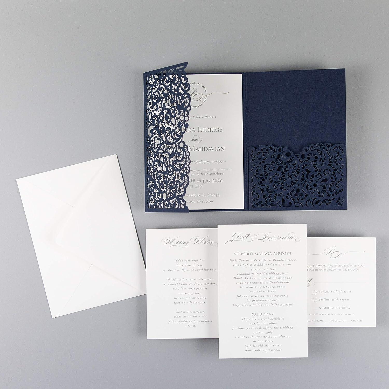 Amazon.com: 50 Cards Pack Trifold Wedding Invitations with Envelopes Laser  Cut Floral Navy Blue Elegant Lace DIY KIT: Handmade