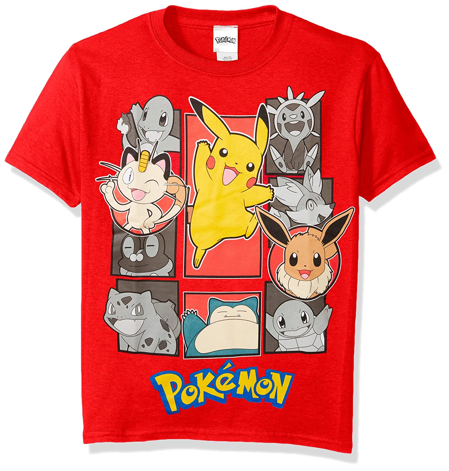 Pokemon Boys' Pokemon Group Short Sleeve Tee Freeze Children's Apparel MUSB026-5000B