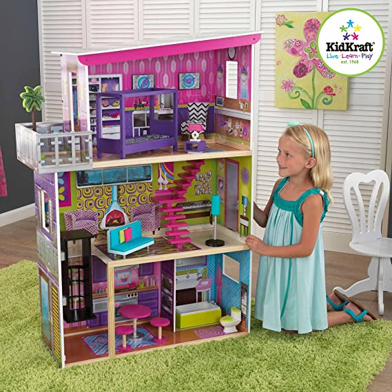 KidKraft Super Model Wooden Dollhouse with 11 Pieces of Furniture
