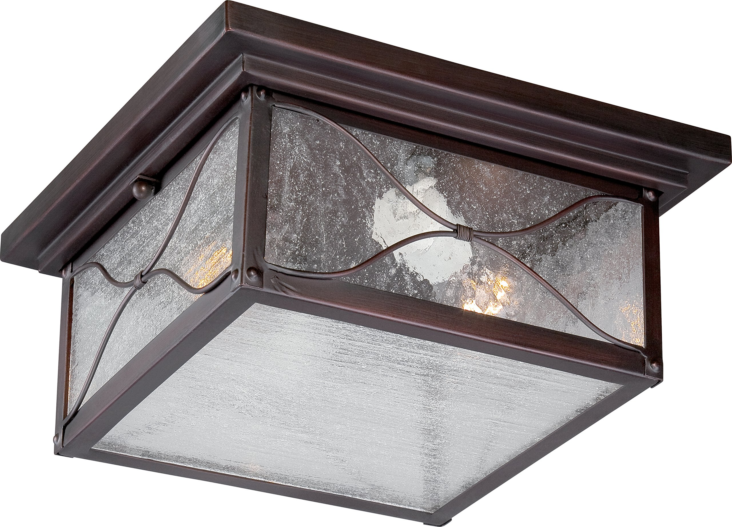 Nuvo Lighting 60/5616 Vega Flush One Light 60-watt Max Outdoor Close to Ceiling Porch and Patio Lighting with Clear Seeded Glass, Classic Bronze