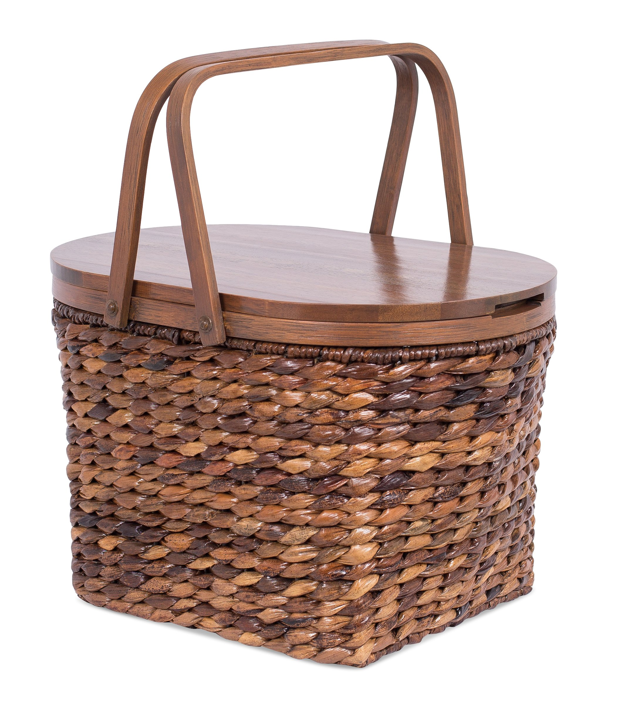 BIRDROCK HOME Seagrass and Abaca Picnic Basket with Wood Lid - Hand Woven - Espresso - Decorative Latch - Wooden Top - Home Décor - Folding Handles by BIRDROCK HOME