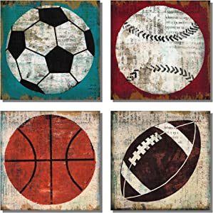 "Sports Decor Canvas Painting Wall Football Poster Tennis Ball Baseball Art Soccer Ball Basketball for Boys Room Contemporary Pictures Boy Nursery Decoration(12""x 12""x 4 Panels Framed)"