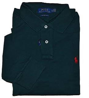 4fa6599b22e9b Ralph Lauren - Custom Fit Long Sleeve Polo - Defender Green - XL at ...