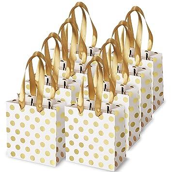 Small Gift Bags With Ribbon Handles Gold Mini Bag For Birthday Weddings Christmas