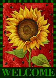Covido Home Decorative Welcome Summer Garden Flag, Sunflower Watermelon House Yard Lawn Decor Vintage Flower Farmhouse Spring Outside Decorations Seasonal Outdoor Small Burlap Flag Double Sided 12x18