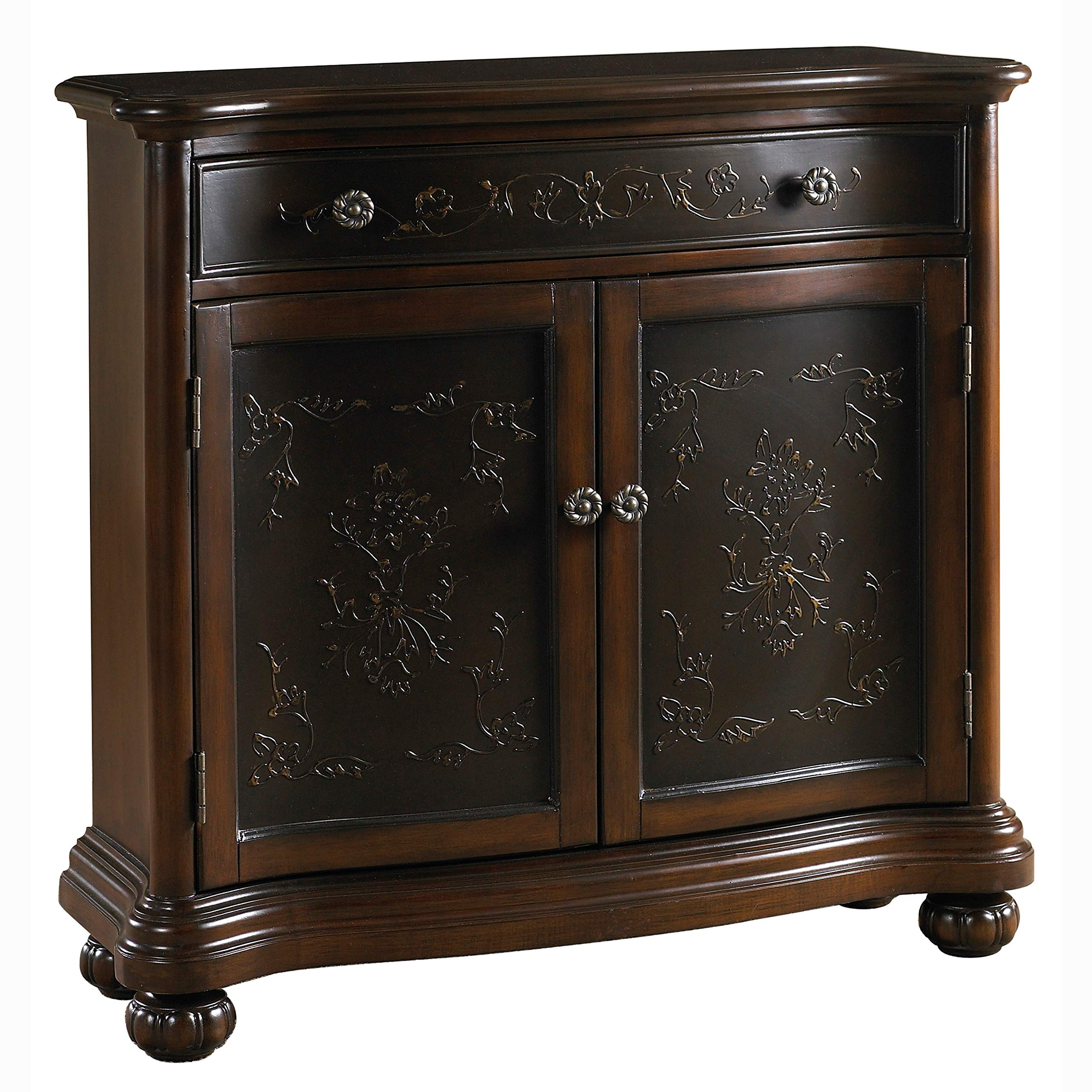 Hand-Painted Accent Chest with Faux Metal Front Brown Traditional Transitional Rectangle Round Brass MDF Painted Storage by Unknown