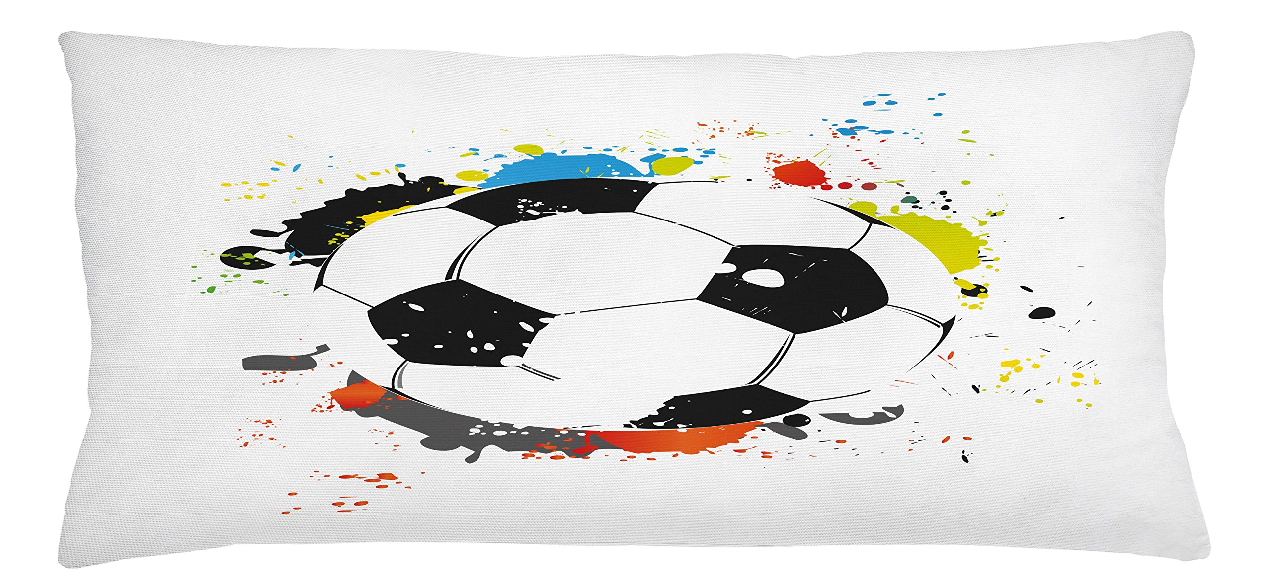 Lunarable Boy's Room Throw Pillow Cushion Cover, Abstract Grunge Soccer Ball in Rainbow Colors Game Hobby Activity, Decorative Square Accent Pillow Case, 36 X 16 inches, Black White Multicolor