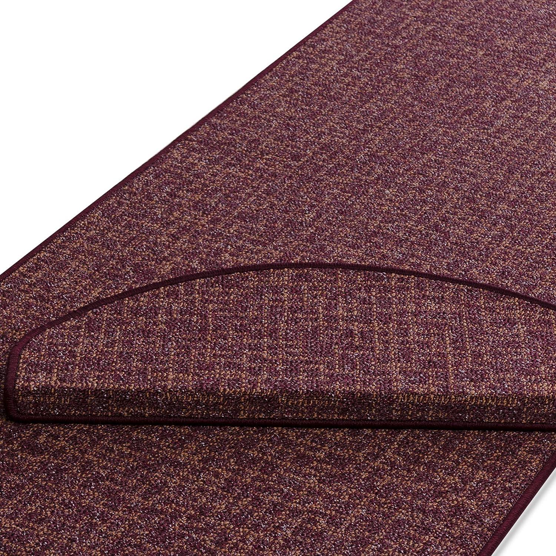 Stufenmatten   Rot gekästeltes Muster   Qualitätsprodukt aus Deutschland   Gut Siegel   Kombinierbar mit Läufer   65x23,5 cm   halbrund   15er Set