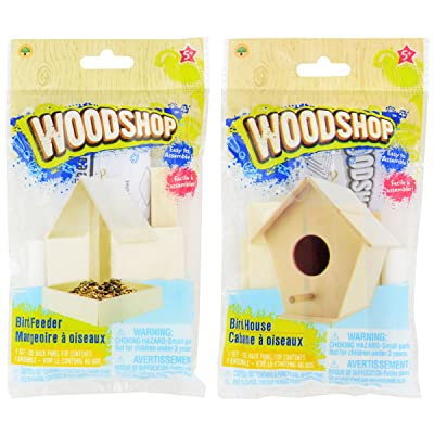 The Woodshop Bird House and Bird Feeder Craft Kit Bundle of 2 Easy Wood Projects for Ages 5+: Toys & Games