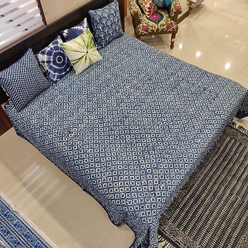 Indigo Cotton Kantha Quilt Queen Size Handmade Kantha Blanket Hand Block Printed Kantha Bed Cover Natural Colour Kantha Throw Boho Bedspread
