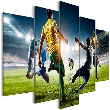 Decomonkey Akustikbild Fussball 100x50 Cm 5 Teilig Bilder