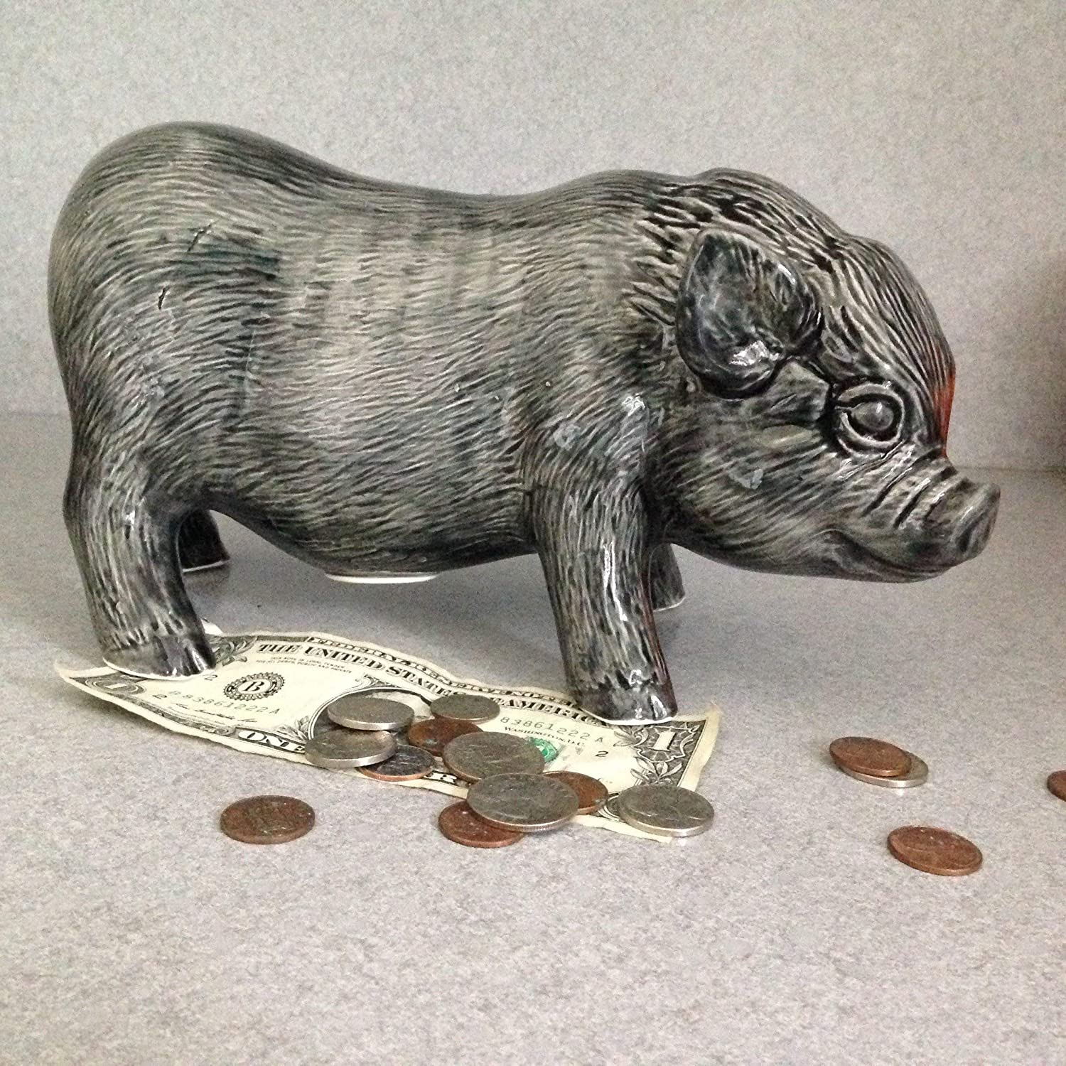 Pig Bank Pot belly pig Bank with stopper black glaze Ceramic money bank
