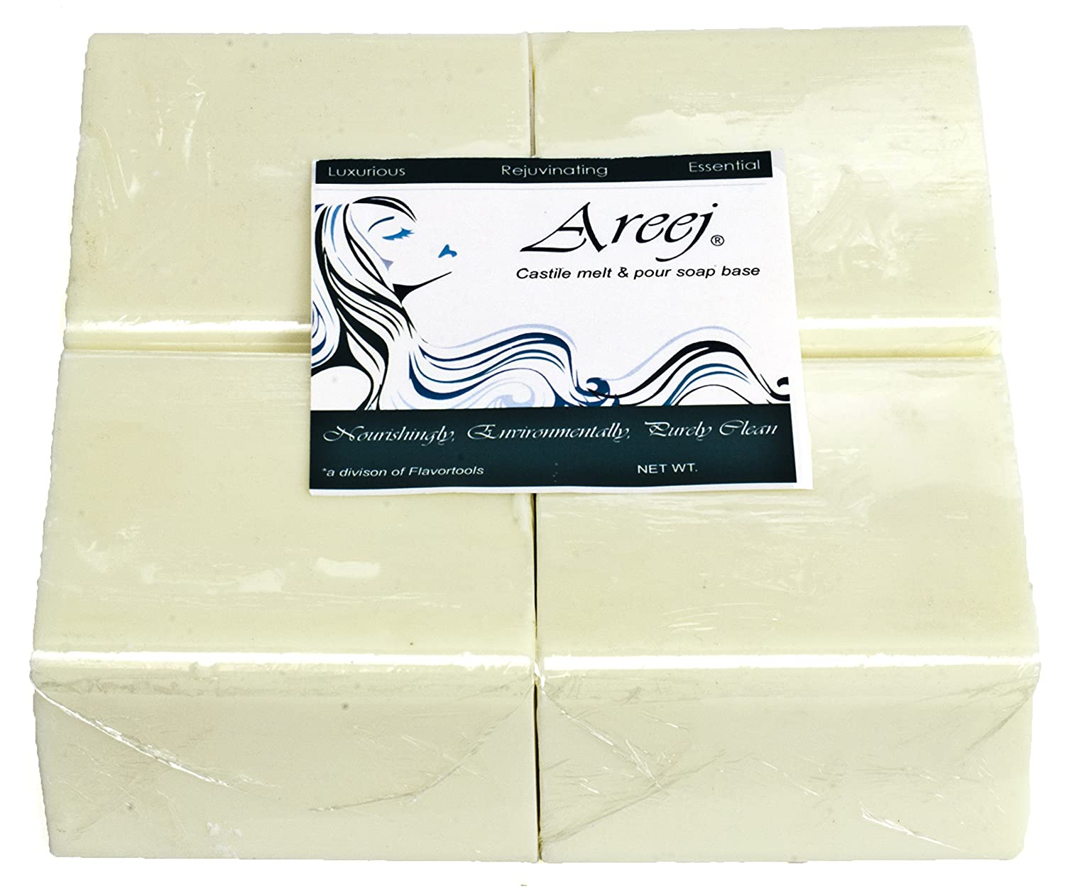 Areej Hypo-Allergenic Biodegradable Olive Oil Soap Base made with 100/% Pure Natural Glycerin 2 Pounds