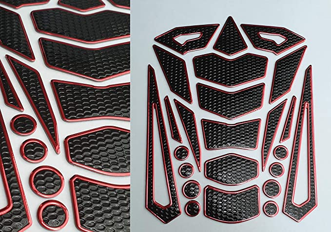 Tankpad Tankschutz Motorrad Carbon Optik 3d Universell Tankschutz Schwarz Rot Auto