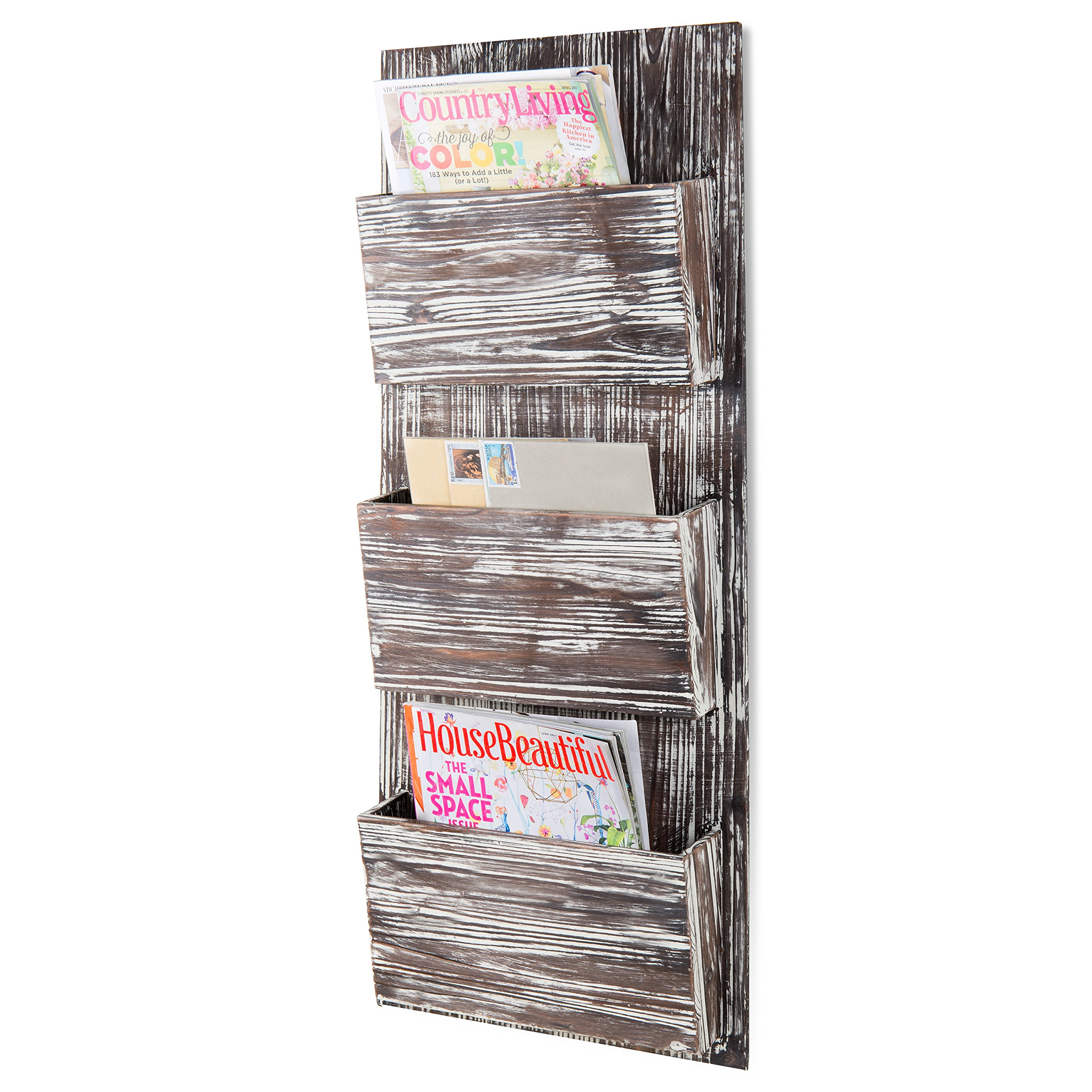 MyGift Rustic Torched Wood 3-Slot Wall-Mounted Magazine Rack