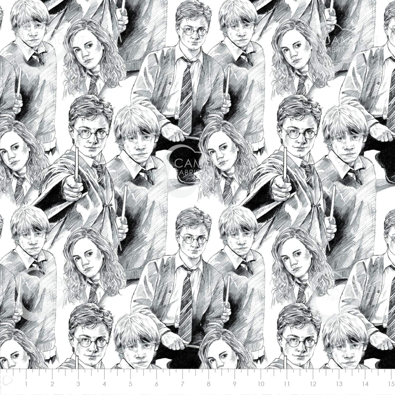 Tela de algodón de calidad de Harry Potter Wizarding World Line de Camelot Fabrics Hermione Ron Weasley