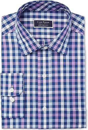Club Room 161/2 32-33 - Camisa de Vestir para Hombre, diseño de Cuadros Escoceses, Color Morado y Azul Marino: Amazon.es: Ropa y accesorios