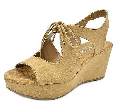 7b62e7a6d0a TOETOS Women s Sandro-02 Nude Mid Heel Platform Wedges Sandals - 5 ...