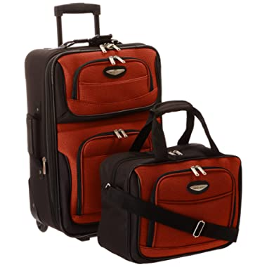 Travelers Choice Travel Select Amsterdam Two Piece Carry-on Luggage Set, Orange
