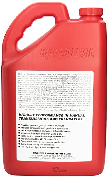 Amazon.com: Red Line 57105 75W140NS GL-5 Gear Oil, 1 Gallon, 1 Pack: Automotive