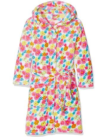 61584144e92a1 Playshoes Girl's Fleece Bathrobe Allover Flowers Dressing Gown