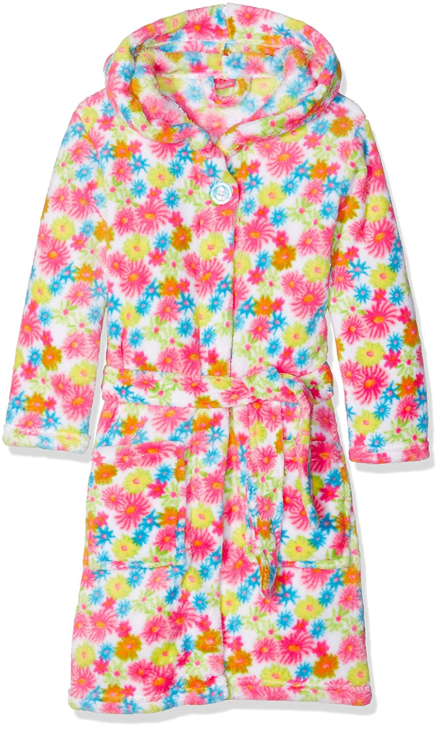 Playshoes Girl's Fleece Bathrobe Allover Flowers Dressing Gown 340133