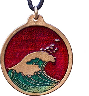 product image for From War to Peace Hokusai Wave Round Red and Green Enamel Pendant Necklace on Cord