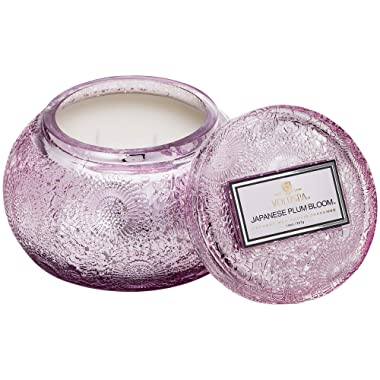Voluspa Japanese Plum Bloom Embossed Glass Chawan Bowl Candle, 14 Ounces