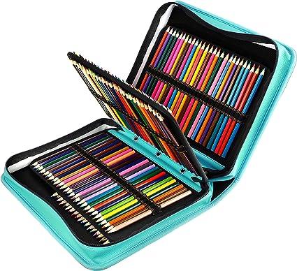 YOUSHARES Estuche 180 ranuras de color lápiz caso tela de PU gran capacidad pluma/lápiz organizador con correa para lápices de acuarela, plumas de gel (Verde): Amazon.es: Oficina y papelería