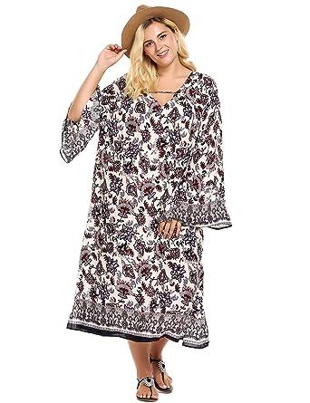 5ea8aa850a Zeagoo Women Plus Size Bohemian Floral Print Long Caftan Dress-Women s Slit  Flouted Sleeve Maxi Beach Dress at Amazon Women s Clothing store