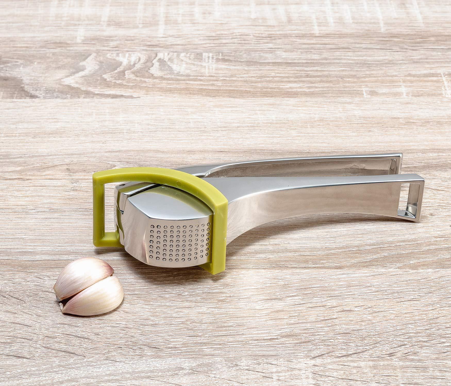 Tomorrow's Kitchen 6883660 Die Cast Garlic Press, use for Peeled or unpeeled, Green by Tomorrow's Kitchen