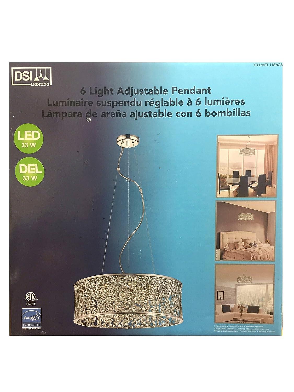DSI 6 LED Light Adjustable Pendant Light Fixture Chrome and Silver - - Amazon.com