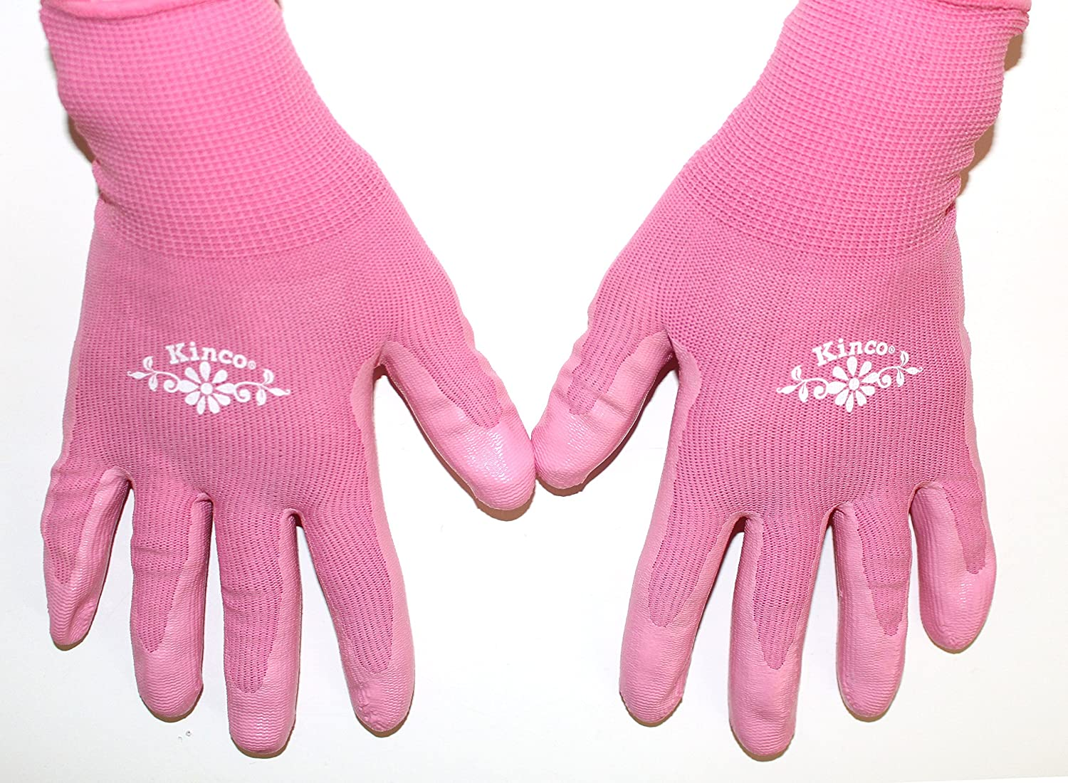 Small Womens Gardening Gloves 2-PackBright Pink Nylon KINIT Shell /& NITRLE Palm Kinco 1891WK Perfect Lightweight Glove with Dexterity and Durability.
