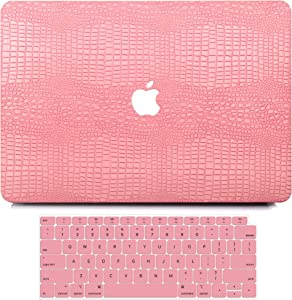 MacBook Pro 13 Inch Case 2020 2019 2018 2017 2016 Release A2251 A2289 A2159 A1989 A1706 A1708, G JGOO PU Leather Hard Shell Cover with Keyboard Cover for Apple Mac Pro 13 with/Without Touch Bar, Pink