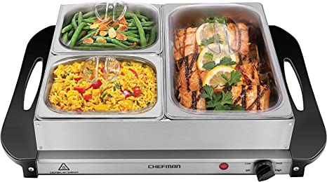 Buffet Serveur Plateau Plaque Chauffante Premium 2 en 1 grandes Electric Food Warmer Inoxydable