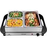 Chefman Electric Buffet Server + Warming Tray w/Adjustable Temperature & 3 Chafing Dishes, Hot Plate Perfect for Holidays, Ca