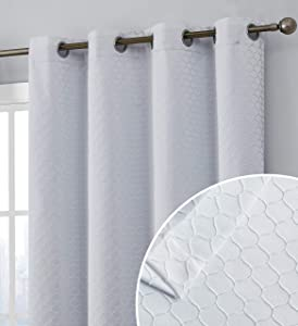 HLC.ME Siena Pattern 100% Complete Blackout Thermal Insulated Double Layer Window Curtain Grommet Panels for Living Room & Bedroom - Energy Savings & Soundproof, Set of 2 (50 x 63 inch Long, White)