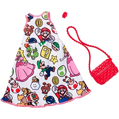 Barbie Super Mario White Dress Fashion: Toys & Games