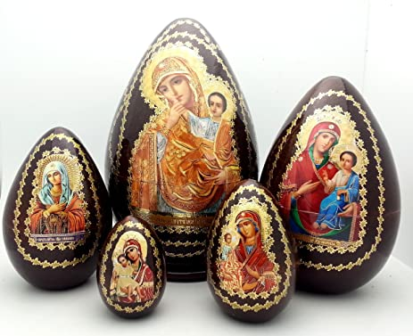 Amazon holy mother religious icon egg 5 piece nesting doll set holy mother religious icon egg 5 piece nesting doll set made in russia wood easter negle Choice Image