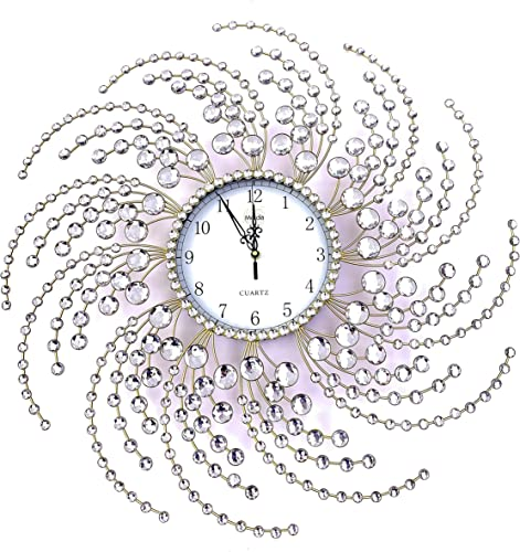 Wall Clock Large Metal Crystal Decorative Circle Fancy Wall Cock Design