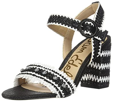 b67e1572443868 Sam Edelman Womens Olisa Raffia Open Toe Dress Sandals B W 6 Medium (B