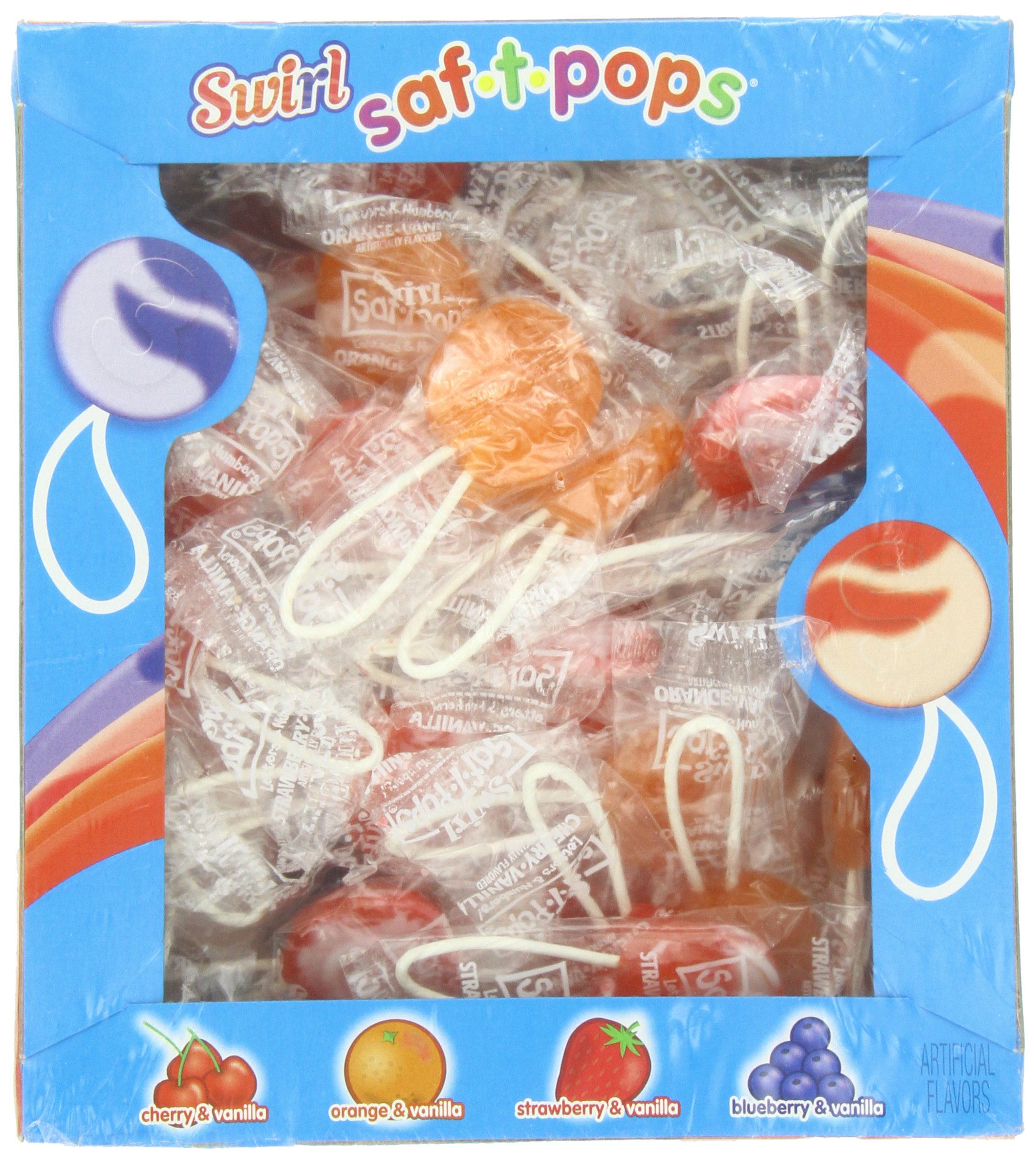 SAF-T-POPS, Swirl, 60 Count Box (Pack of 18) by Saf-T-Pops