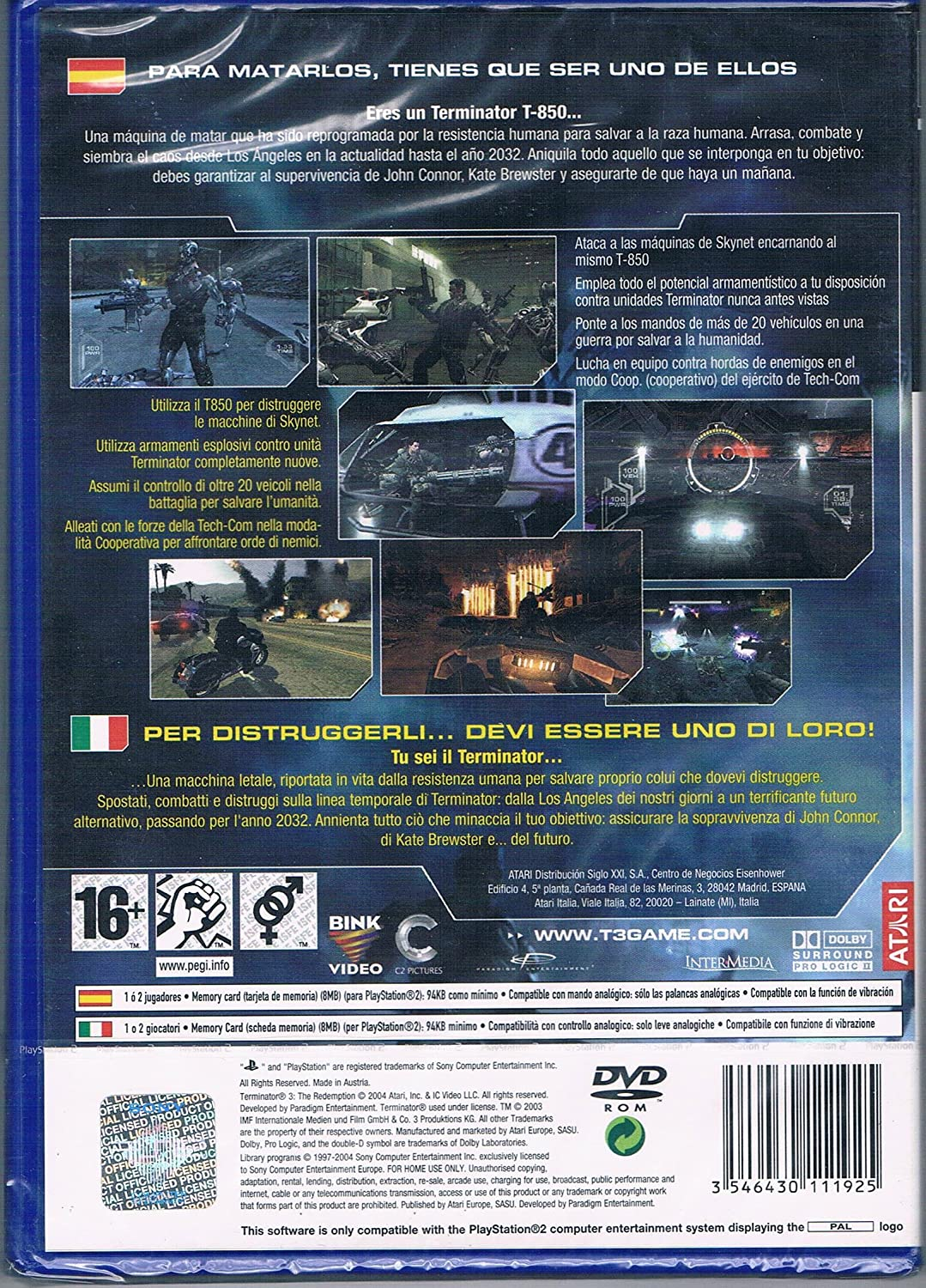 Amazon.com: PS2 - Terminator 3 The Redemption - [PAL EU ...
