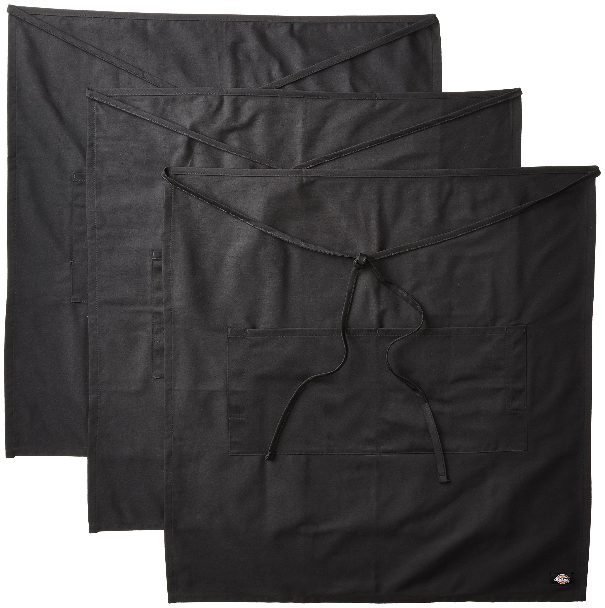 Dickies Chef 3 Pack Full Bistro Apron with Pencil Pocket, Black, One Size