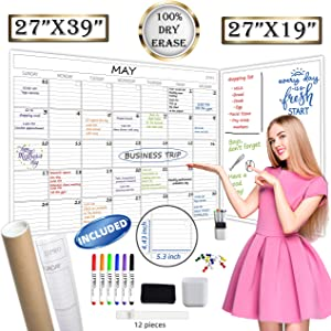 """Jumbo Dry Erase Wall Calendar - 27""""x39"""" Undated Blank Monthly Planner and 27""""x19"""" Giant Dry Erase Whiteboard Poster Combo - Premium Laminated Reusable Calender 2020 2021 for Home,Office, Classroom"""