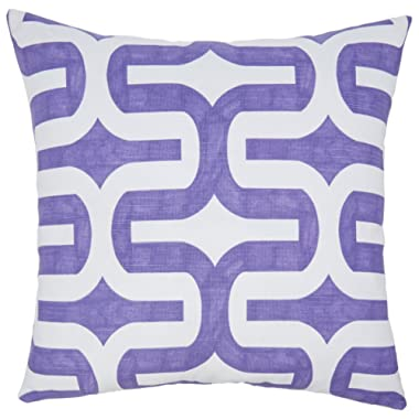 Chloe & Olive Mazy Purple and Gray Collection Modern Geometric Reversible Pillow Cover, 18-Inch