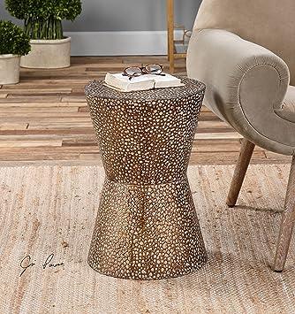 Amazon.com: Modern Copper Bronze Drum Table | Pierced Hammered Metal End  Round: Kitchen U0026 Dining