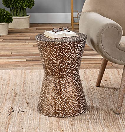 Amazoncom Modern Copper Bronze Drum Table Pierced Hammered Metal - Copper drum end table